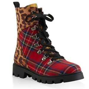 Combat Boot Hiking Animal Print Ankle Bootie
